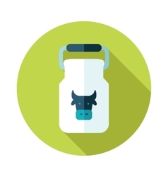 Can container for milk flat icon with long shadow vector