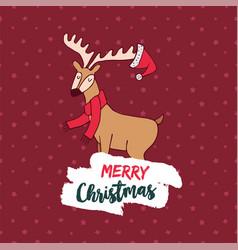 christmas cute winter deer doodle greeting card vector image vector image