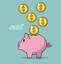 Colorful poster of profit with money coins falling vector