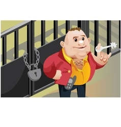 Creative scene cool businessman locks the door vector
