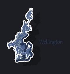 Detailed sticker map of wellington new zealand vector