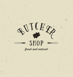 emblem of butchery meat shop with pig silhouette vector image vector image