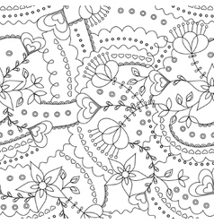 Flowers and hearts pattern coloring vector image
