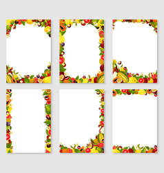 Frames set of exotic fresh fruits vector