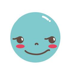 Full color kawaii head with cute rogue face vector