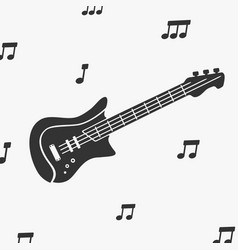 guitar silhouette and notes vector image