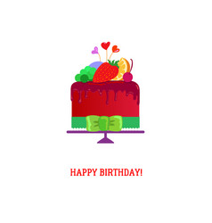 Happy birthday cake with fruites vector