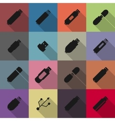 Icons flash drive vector image