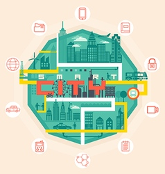 Infographic smart city concept with different icon vector image vector image
