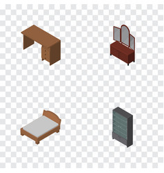Isometric design set of drawer sideboard table vector