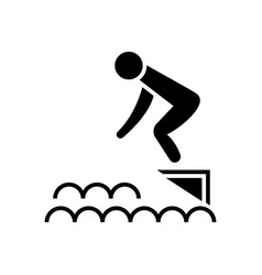 Jump in water - swimming pool icon vector