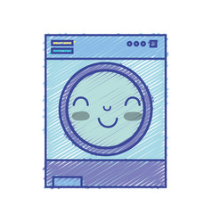 Kawaii cute happy washing machine vector