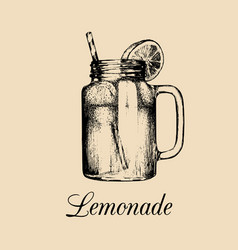 Mason jar isolated home made lemonade with vector