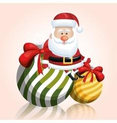 merry chrsitmas santa claus with two ball ribbon vector image vector image