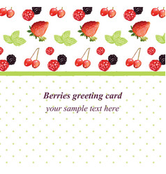 mixed cherry and berry retro style card vector image vector image