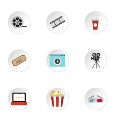 Movie icons set flat style vector image vector image