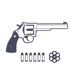 revolver handgun isolated over white vector image vector image