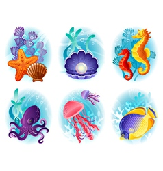 Sea animals icons vector image vector image