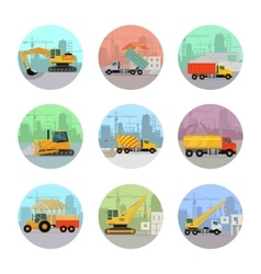 Set of icons with construction machines vector