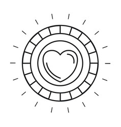 Silhouette front view coin with heart symbol vector