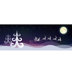Stylized night winter landscape with Santa and vector image