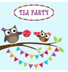 Tea party invitation with cute owls vector image
