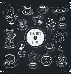 teapots and cups vector image