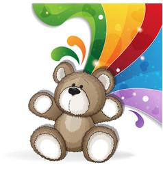 teddy bear with rainbow vector image vector image