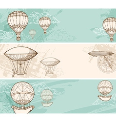 Vintage horizontal banners with air balloons vector image