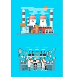 Facade architecture nuclear power vector