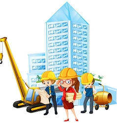 People working on construction site vector