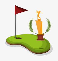 Trophy golf player field flag hole one vector