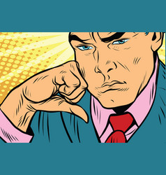 Close-up face of a man thinker vector