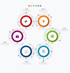 Infographics template 6 options with circle vector