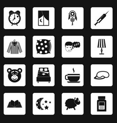 sleep icons set squares vector image