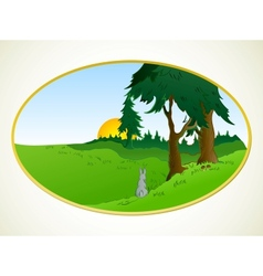 Hares in the wonderland background vector image