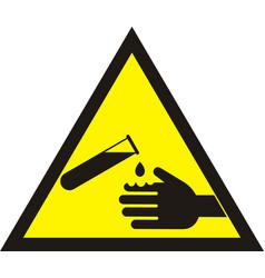 Corrosive warning sign warning acid sign vector