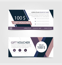 Purple gift voucher template with colorful vector