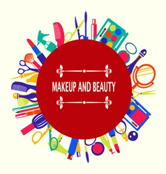 Make up and beauty beauty cosmetic vector