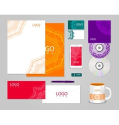 Ethnic corporate identity template with ornament vector