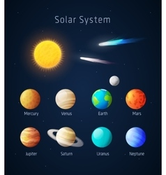 Realistic solar system objects vector