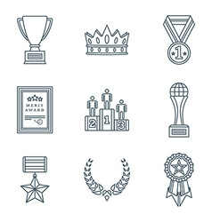 Dark color outline various awards symbols icons vector