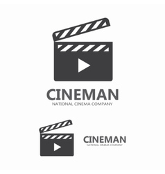 Cinema logo clapperboard for shooting vector