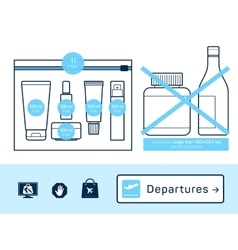 Liquids in carry-on baggage vector