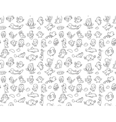 Hand drawn birds pattern black and white vector