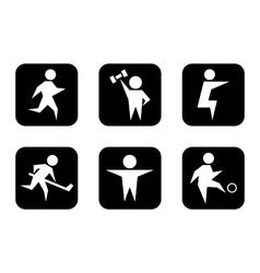 Set of black sports symbols vector