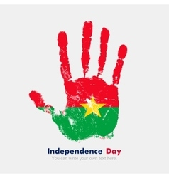 Handprint with the flag of burkina faso in grunge vector