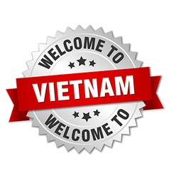 Vietnam 3d silver badge with red ribbon vector