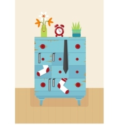 Interior old blue dresser vector
