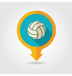Volleyball pin map flat icon summer vacation vector